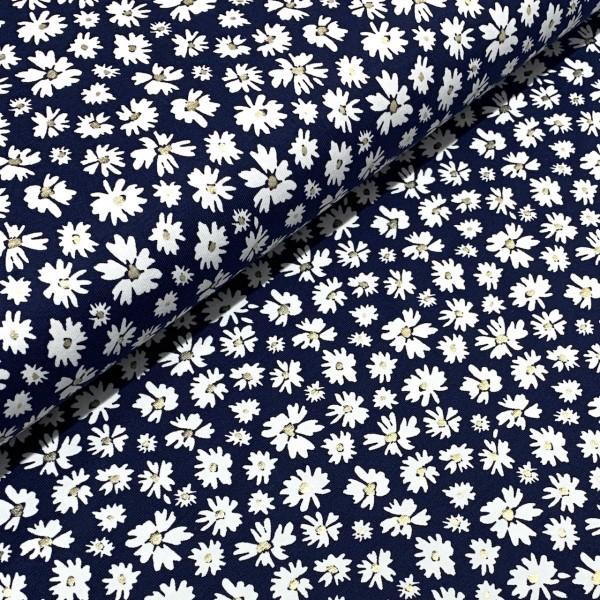 Jersey Foliendruck Blumen auf dunkelblau