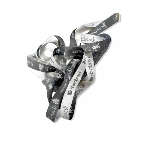 Webband Handmade grau/weiß 3m