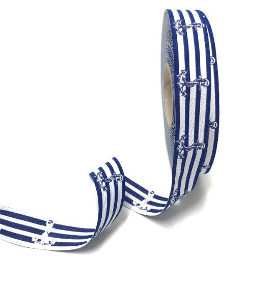 Webband Anker auf blauen Streifen, ca.20mm breit