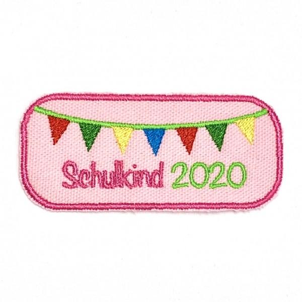 Schulkind rechteckig 2020 rosa Bügel-Applikation