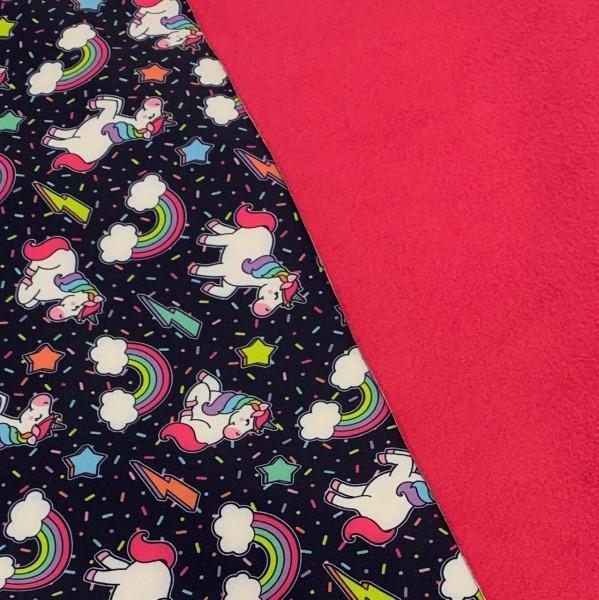 Softshell bunte Einhörner auf dunkelblau, Fleece-Rückseite in pink