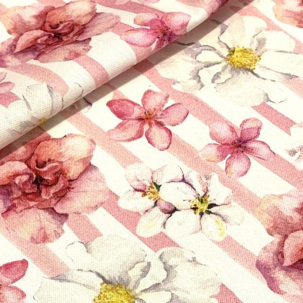 Dekostoff Blume rosa-weiß gestreift