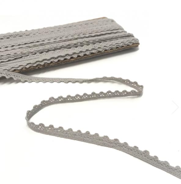 Häkelspitzenborte hellgrau, 11mm breit