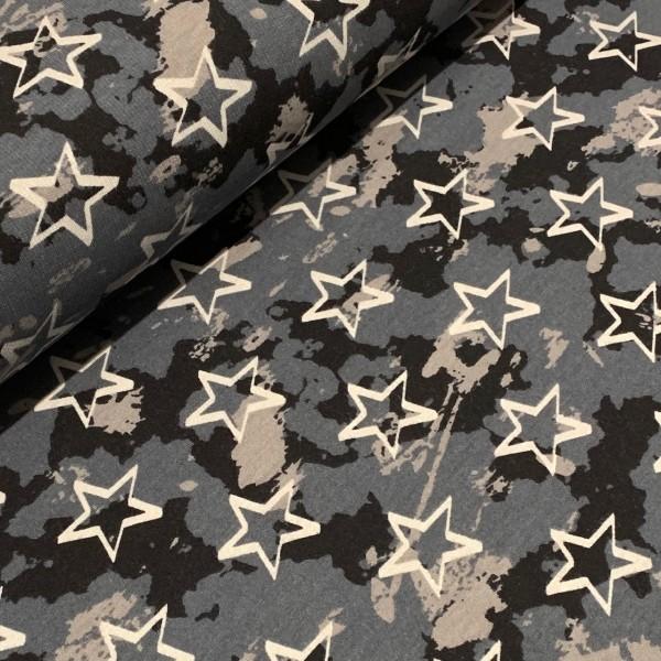Sweat Sterne Camouflage dunkelgrau mit angerauter Innenseite Oeko-Tex