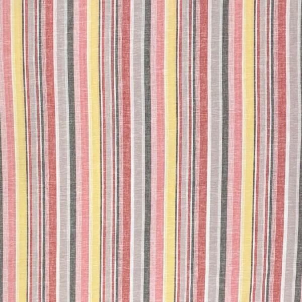 Baumwoll Leinen streifen rosa-gelb pastel