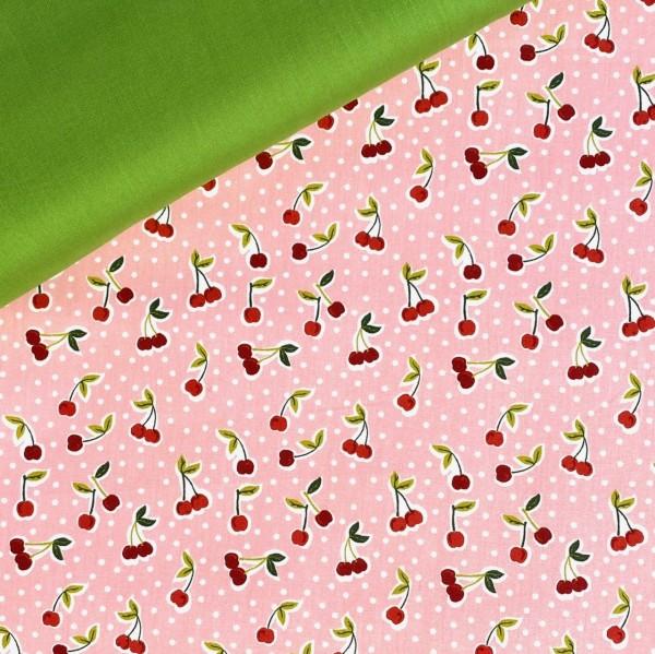 Baumwollstoff Vintage Kirschen auf rosa