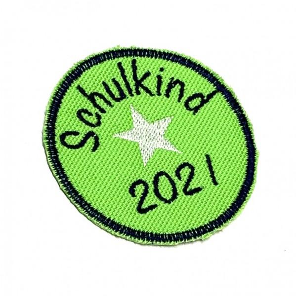 Schulkind 2021 rund in Grün Bügel-Applikation