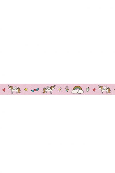 Webband Einhörner auf rosa, ca.20mm breit