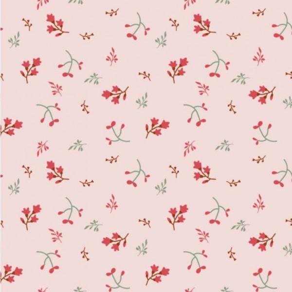 Jersey Blumen und Zweige rosa