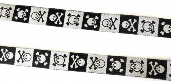 Webband Totenköpfe schwarz-weiß