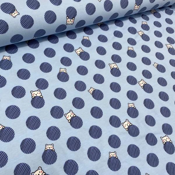 Jersey Bär und Dots hellblau