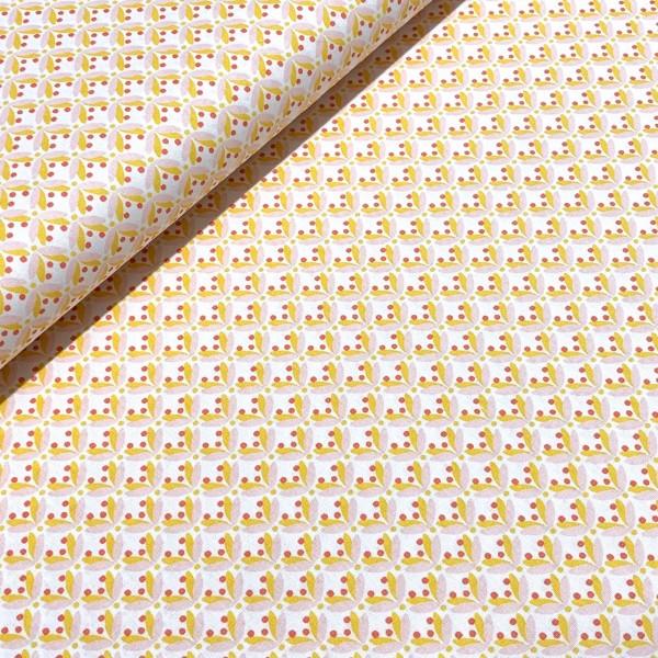 Retro Graphic Flower gelb-weiß 100%BW Oeko-Tex