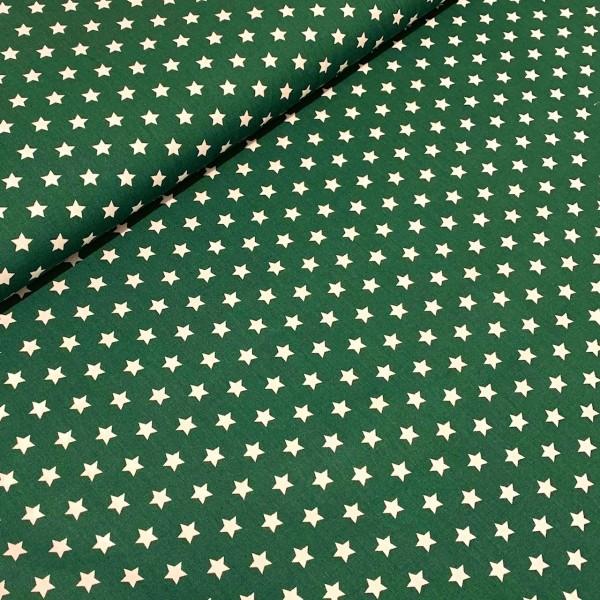 Sterne klein tannengrün-weiß 100% BW