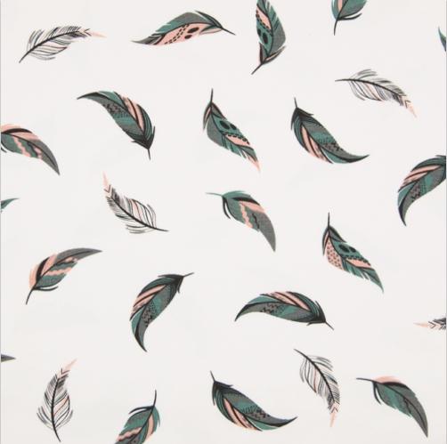 Jersey Federn Feathers rosa-grau-petrol auf weiß Motivgr. ca. 5,5cm