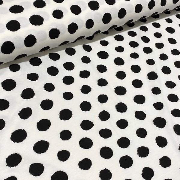 Jersey Dots weiß-schwarz