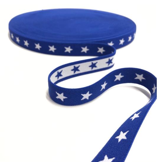 Gummiband SCHMAL Sterne, 2cm, royalblau