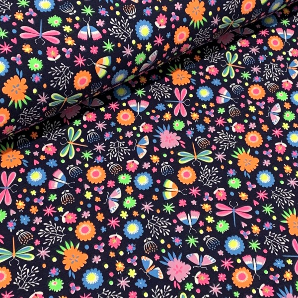 Jersey Neon Libelle und Blumen dunkelblau