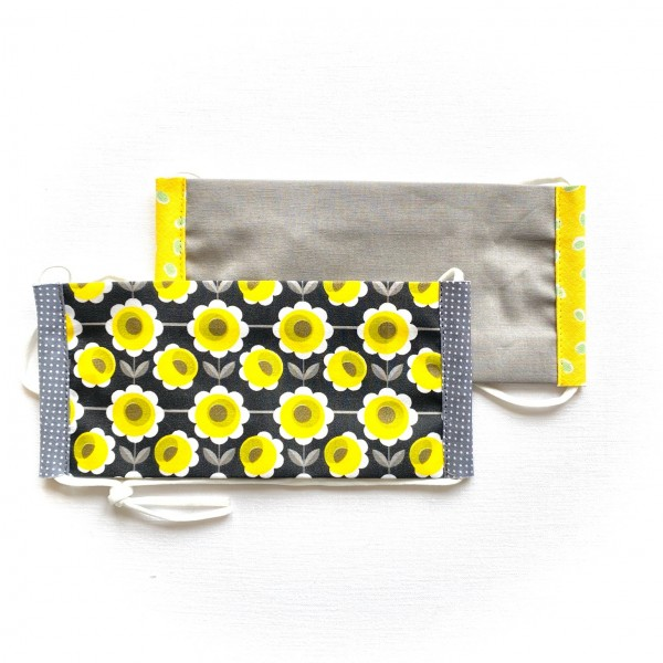 2 Behelfsmasken Blumen schwarz/gelb & Grau uni