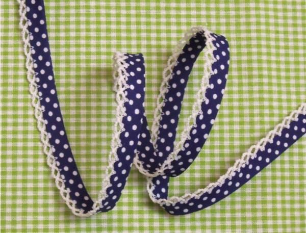 5m Schrägband Punkte mit Häkelborte marineblau (22)