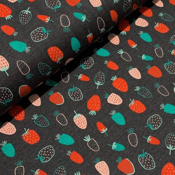 Jersey Erdbeeren anthrazit melange Oeko-Tex