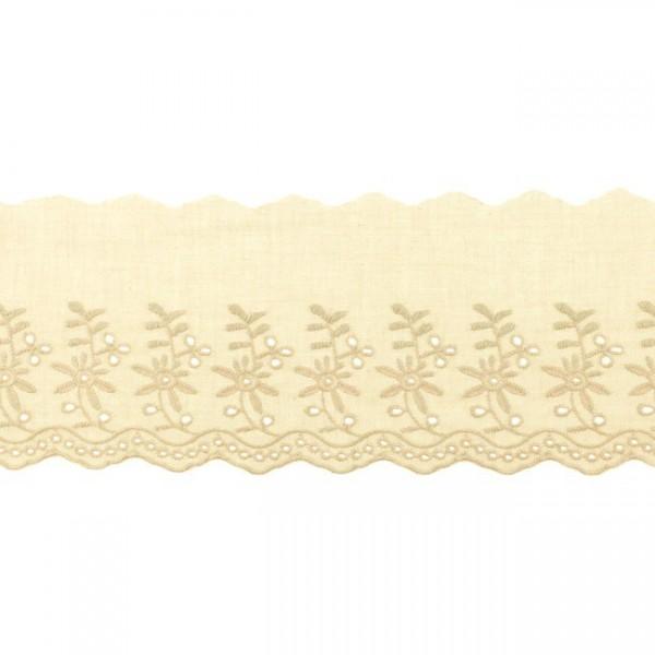 """Stickerei-Spitzenborte """"Blümchen"""", 9cm, beige(71)"""