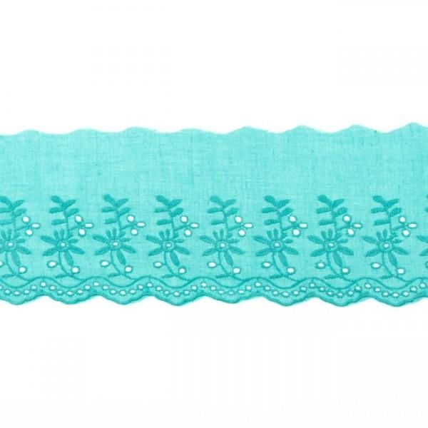 "Stickerei-Spitzenborte ""Blümchen"", 9cm, mint(51)"