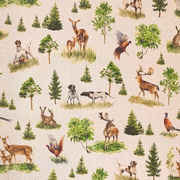 Dekostoff Tiere im Wald auf natur