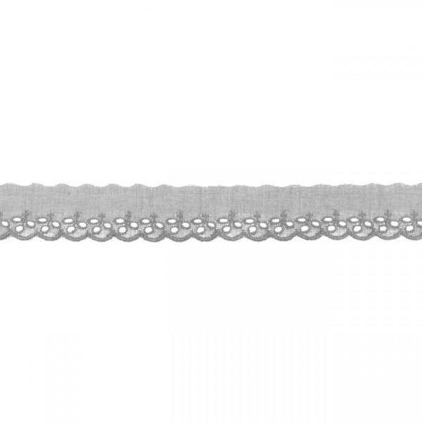 """Stickerei-Spitzenborte """"kleine Blümchen"""", 3cm, grau(12)"""
