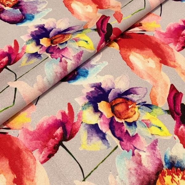 Dekostoff Watercolour flowers auf hellgrau