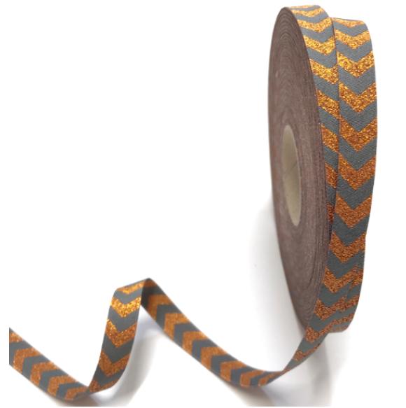 Webband Chevron kupfer-grau, 12mm breit